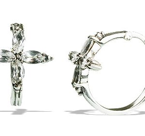 White Topaz Silver Cross Hoop Earrings