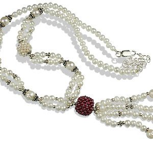 Pearl and Garnet Tassel Necklace
