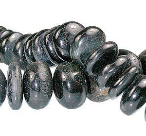 Black Tiger Eye Rondelle Beads (15mm)