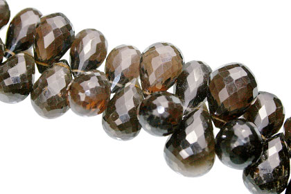 Checker Cut Smoky Quartz Briolettes (8-17mm)