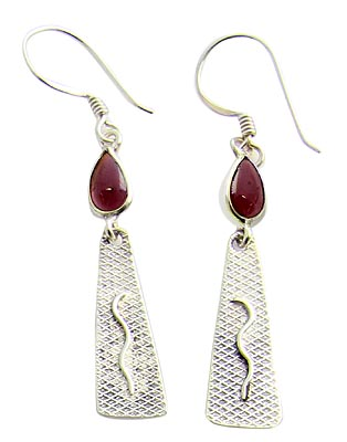Garnet Sterling Silver Drop Earrings