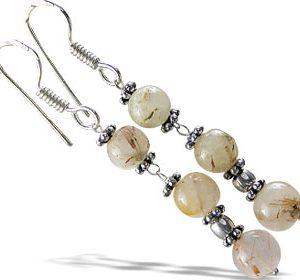 Golden Rutilated Quartz Bead Earrings