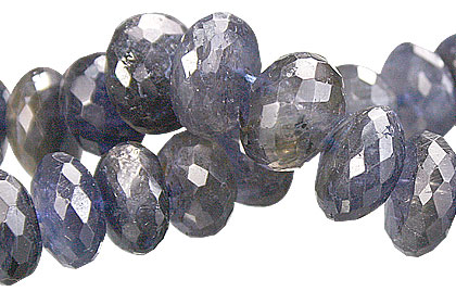 Faceted Iolite Rondelle Beads (5x10mm)