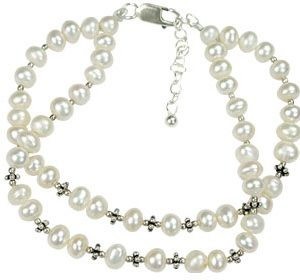 Pearl and Silver Bead Two-Strand Bracelet
