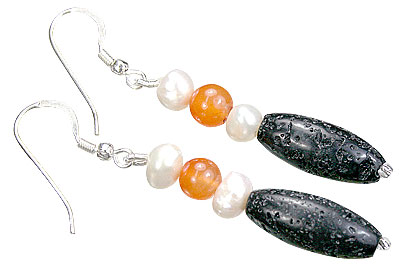 Carnelian, Pearl And Lava Earrings