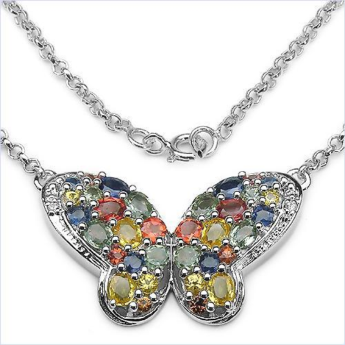 Multicolor Sapphire Butterfly Necklace