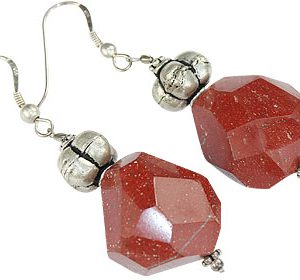 Red Jasper and Silver Beaded Earrings
