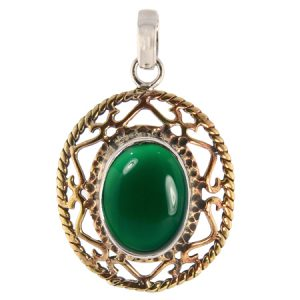 Brass and Silver Lace Green Onyx Pendant