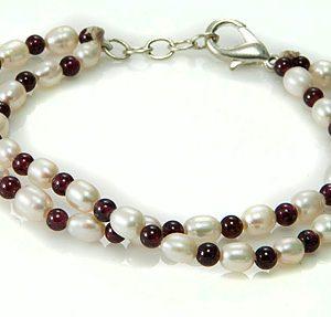 Pearl and Garnet Two-Strand Bracelet