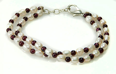 Pearl And Garnet Two-strand Bracelet