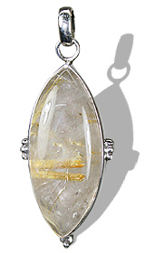 Golden Rutilated Quartz Silver Pendant