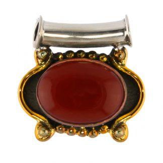 Brass and Silver Carnelian Pendant