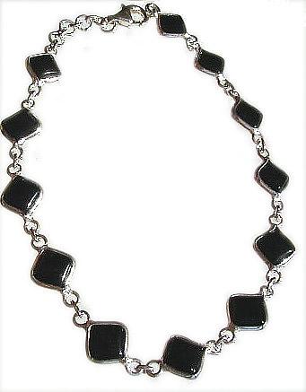Onyx Diamond Silver Bracelet