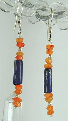 chipped lapis lazuli earrings