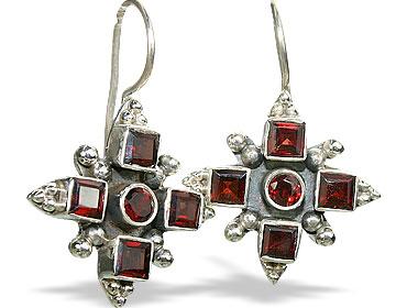Garnet Silver Cross Earrings 2