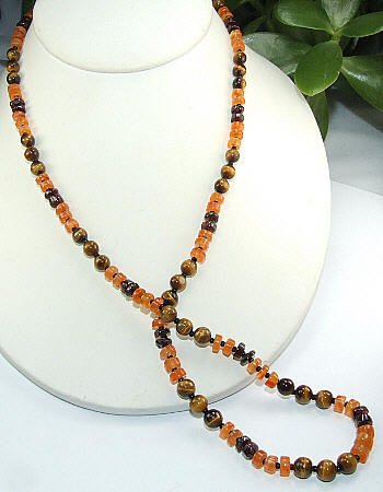 Carnelian, Tiger Eye And Garnet Necklace
