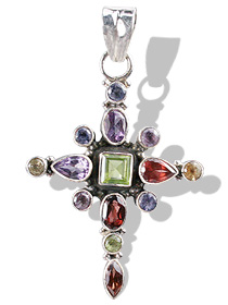 Multistone Silver Cross Pendant with Peridot