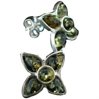 flower amber earrings
