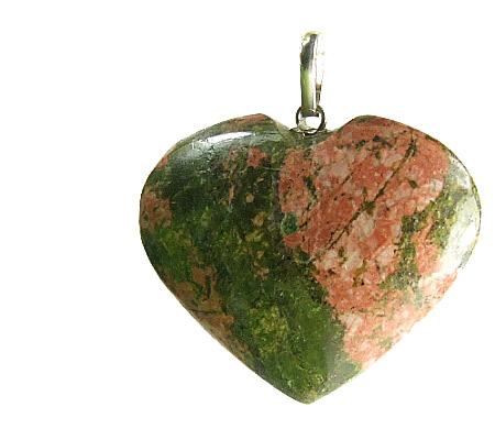 Unakite Heart Pendant