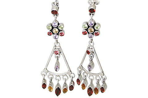 Citrine, Garnet, Peridot And Amethyst Chandelier Earrings
