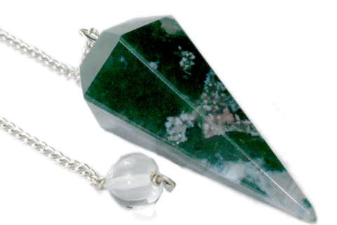 Faceted Moss Agate Pendulum