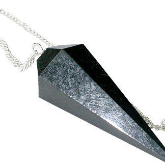 Faceted Black Jasper Pendulum