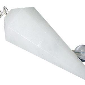 Faceted Snow Quartz Pendulum