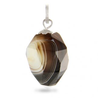 Faceted Banded Onyx Drop Pendant