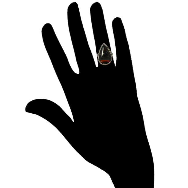 Black Banded Agate Silver Ring