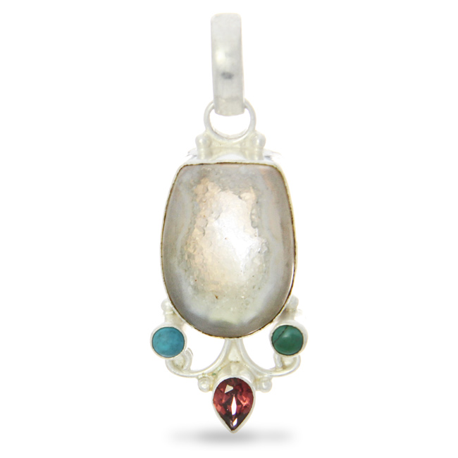 Grey Quartz Drusy, Turquoise And Garnet Pendant