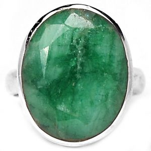 Faceted Oval Emerald Silver Ring