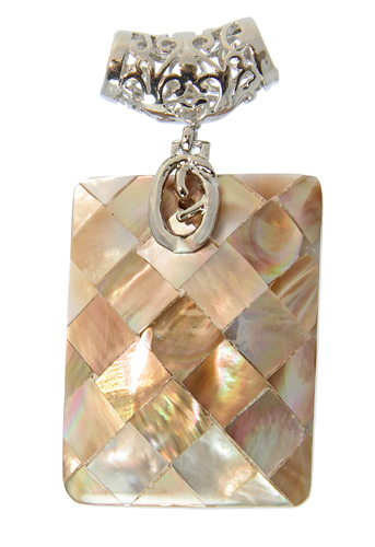 Champagne Checker Mother-of-pearl Pendant