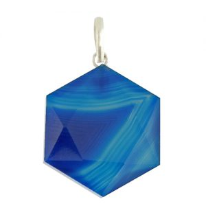 blue onyx hexagon pendant