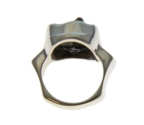 Freeform Moldavite Silver Ring