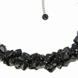 Black Onyx Cluster Necklace