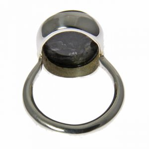 Oval Psilomelane Silver Ring
