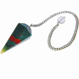 Faceted Bloodstone Healing Pendulum