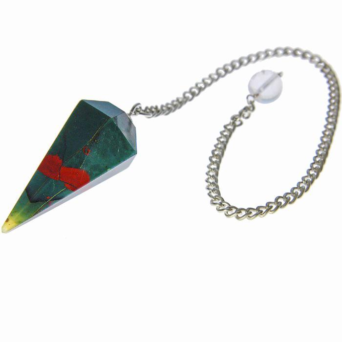 Faceted Bloodstone Healing Pendulum