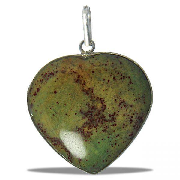 Green Jasper Heart Pendant with Silver Bezel