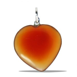 Red Onyx Heart Pendant with Silver Bezel