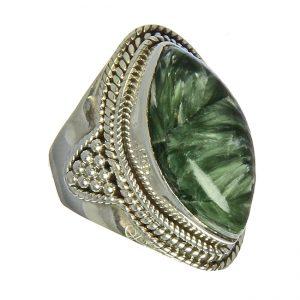 Ornate Seraphinite Silver Ring