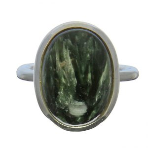 Oval Seraphinite Silver Ring