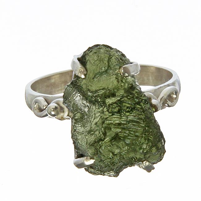 Chunky Moldavite Silver Ring