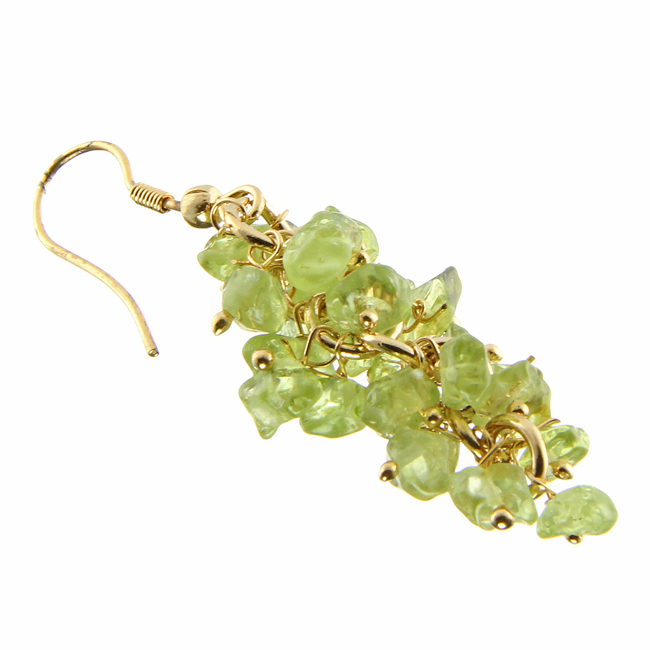 Gold-plated Peridot Cluster Earrings