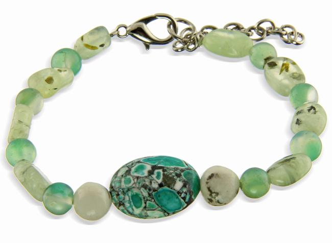 Prehnite And Mosaic Magnesite Bracelet