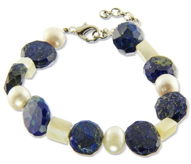 Lapis Lazuli, Pearl & Shell Bracelet