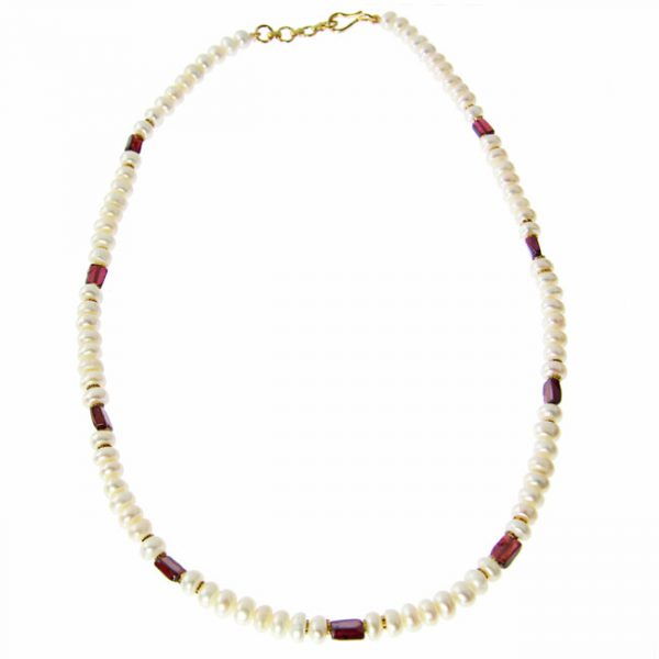 Pearl and Garnet Single-Strand Necklace