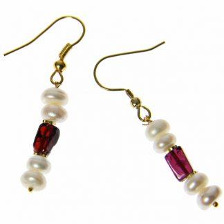Pearl and Garnet Earrings