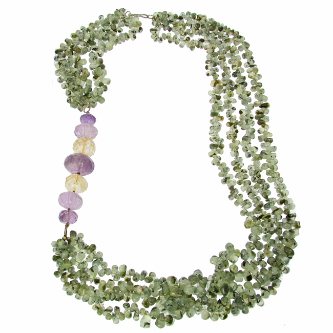Prehnite, Amethyst And Citrine Multistrand Necklace