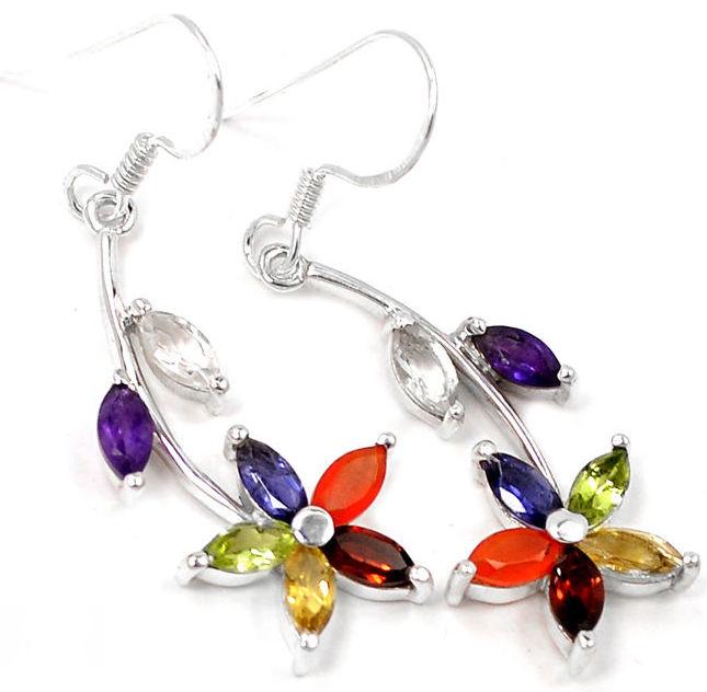 Chakra Flower Earrings In Sterling Silver
